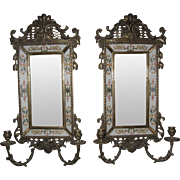 Large Vintage Mirrored Brass Wall Sconce's Candle Holder's