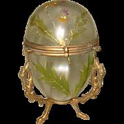 Antique French Iridescent glass egg box