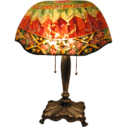 Pairpoint Glass Table Lamp, Reverse Painted
