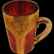 Moser Cranberry Double-Shot Mug.