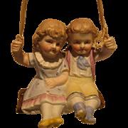 German Porcelain Boy & Girl Swingers