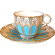 Antique Bone China Tea Cup and Saucer, Blue and Gold on White Ground