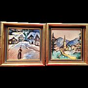 Vintage Framed Tile Paintings, Set of two,