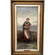 "John A. McColvin (1864-1920) Original Oil/Canvas Painting. ""The Flower Gatherer."""