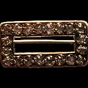 Edwardian Brass and Rhinestone Brooch