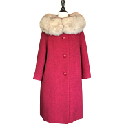 Vintage Red Tweed Wool A-line Coat with Large Silver Fox Fur Collar