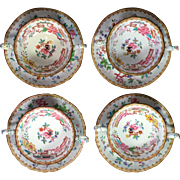 Four Sets Mintons Bone China Bouillon Cup and Saucers, Chinese Tree Pattern