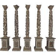 Set of 5 Tall Painted Carved Columns/Torchieres