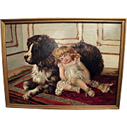 Early 1900s Oil Painting ( Little Girl Sleeping on Dog)