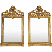 Pair of French Antique Louis XVI Giltwood Mirrors