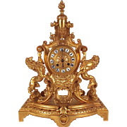 1900s Bronze Mantel Clock Gold Plated