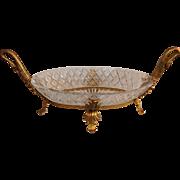 French Dore Bronze & Cut Crystal Ormolu Swan Centerpiece Bowl