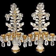 Transitional Pair Gilt Rock Crystal Baguès Flowers Candelabra Sconces