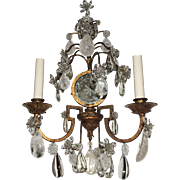 Vintage Pair of French Gilt Rock Crystal Tole Mirrored Sconces
