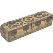 1950s Indian Vintage Hand Crafted Hand Painted Wooden Pencil Box