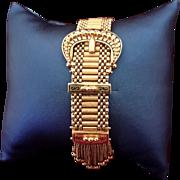 14K Gold Victorian Antique Revival Enamel Slide & Tassel Bracelet