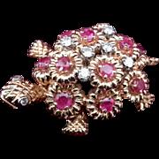 18K Yellow Gold Ruby & Diamond Turtle Brooch