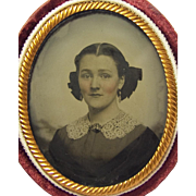 SOLD OVAL AMBROTYPE Beautiful Lady PERIOD FASHIONS Antique Earrings and Brooch Velvet Case Foi