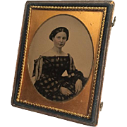 QUARTER Plate AMBROTYPE Beautiful Young Lady, Off-Shoulder Plaid Hoopskirt, Ribbons, Gold ...