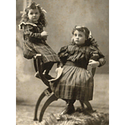 SOLD Counterbalanced, Darling Sisters in PLAID DRESSES, Multiple Hair Bows CABINET CARD PHOTO