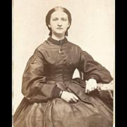 SOLD CIVIL WAR Beautiful Woman's Portrait, Elizabeth, Dark Hoopskirt Crinoline Dress, Period .