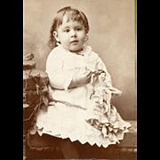 Child Holds Antique Toy Doll CDV Photo
