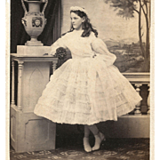 The PARTY Gown, Girl in White Ruffled CRINOLINE Dress Flower GARLAND and POSEY cdv