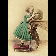 SALE Hand-Painted CDV Girl in Green CRINOLINE Dress w/ Wicker Basket