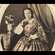 Larger Format ALBUMEN PHOTO 1860s Beautiful Fashionista CRINOLINE HOOPSKIRT Dress EMBOSSED ...