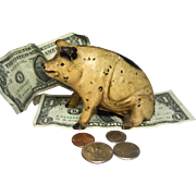 Original Tan-Black Spotted PIG, Seated and Smiling, CAST IRON STILL BANK, Piggy Bank by ...