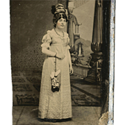 1860s Lady in JANE AUSTEN, REGENCY Style Period Dress EMPIRE Waist Tinted Tintype, Rare Unusua