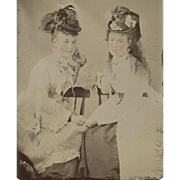 ETHEREAL Girls HOLDING HANDS Marvelous MILLINERY Hats PERIOD FASHIONS Hoopskirts TINTED Tintyp