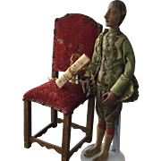 Original Doll from 18th century, 1780 with original chair from 18th century