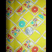 All Cotton Yellow Turquoise~Orange~White~Flowers~Flour Sack