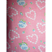 Vintage Cotton Flour Sack~Pink~Hearts and Blue Roses