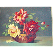 Vintage 1930's Roses in Bowl Paintng on Board