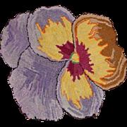 1930's Vintage Pansy Wool Hooked Rug