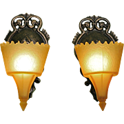 Pair Art Deco Slip Shade Sconces by Frankelite