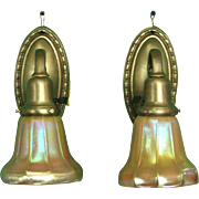 Heavy Cast Brass Sconces with Steuben Shades