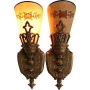 1930's Art Deco Slip Shade Sconces by Lincoln