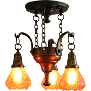 Arts and Crafts Hammered 3 Light Fixture with Loetz Shades