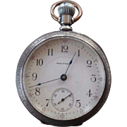 Antique Coin Silver Waltham Clamshell Case Pocket Watch Running 17 Jewel