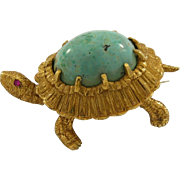 Vintage 18k Yellow Gold Turquoise Ruby Eye Turtle Brooch