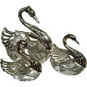 Antique Set Of Three .835 Continental Silver and Crystal Swan Salt Cellars