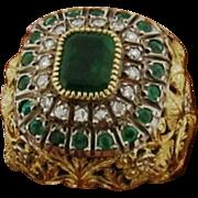 Vintage 18k Yellow Gold Pave Diamonds Snake Ring