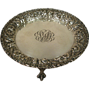 Stieff Sterling Repousse Claw Footed Tray c.1920
