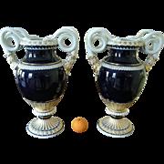 Monumental Pair Of Antique Meissen Porcelain Blue Gold Snake Vases