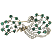 Vintage J.E. Caldwell 14k White Gold Emerald Diamond Spray Brooch