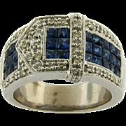 Vintage Buckle Design Sapphire Diamonds Platinum Designer Ring