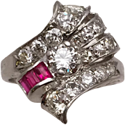 Charming Authentic Period Deco Platinum Ring with Diamonds and Rubies
